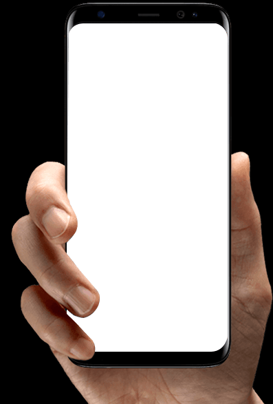 Image of a hand holding a phone, showing the BCN system.